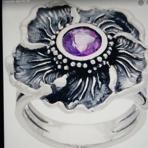 Or Paz .925SS Amethyst Hibiscus Flower Ring Sz 8